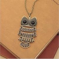 Vintage Crystal Owl Pendant Necklace Collier Bijoux Retro Chain Rhinestone Animal Necklace Women Costume Jewellery