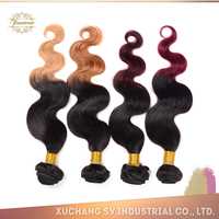 Large factory stock body wave ombre color hair weaves, super quality remy italian body wave hair