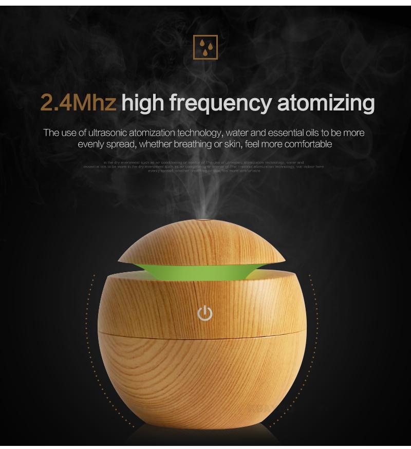 Diffuseur d'huiles essentielles USB KBAYBO bois, aromathérapie, brumisateur ultrasonique