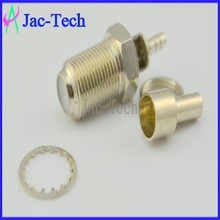 RF connector F female bulkhead crimp for RG174/RG316 cable coaxial connector