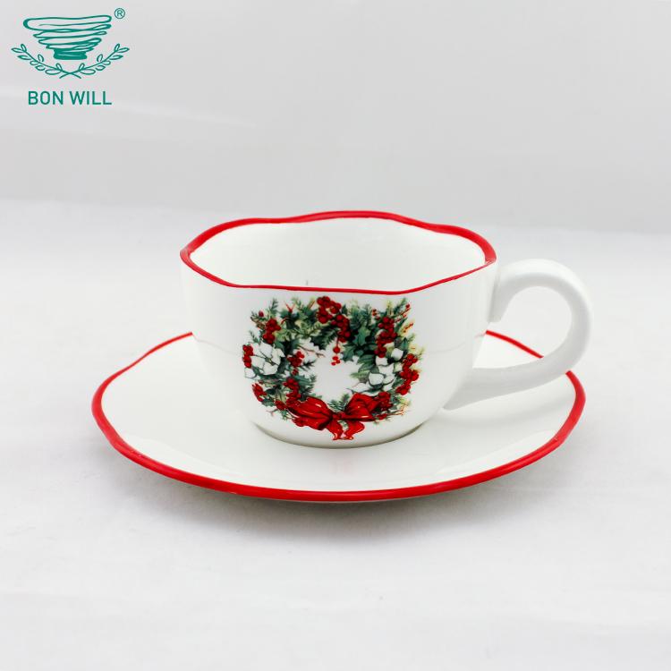 OEM custom size home use hard dolomite round shape tea coffee cup and saucer set