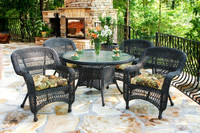 4 seater side open armrest designed outdoor rattan furniture with cross weave patio dining sets