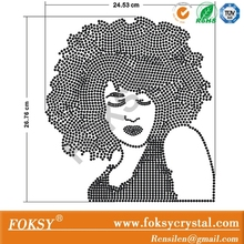 Crystal Black Afro Girl Rock Hotfix Motif Rhinestone Transfer