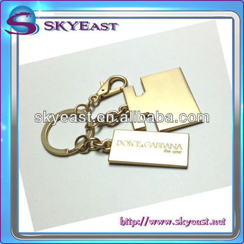 High Shine Gold Keychain with Logo Tags