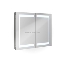 lighted illuminated LED double door dubai bathroom wall cabinet mirror medicine cabinet with shaver socket