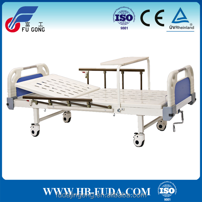 hospital disabled furniture epoxy coated semi fowler bed with food tray