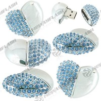 Hot sales transparents usb flash disk heart shape