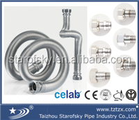 AISI304 Stainless steel gas hose with yellow PE coat and brass nut