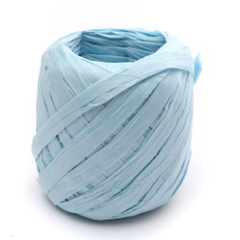 Luxury gift box packaging light blue paper raffia ribbon egg