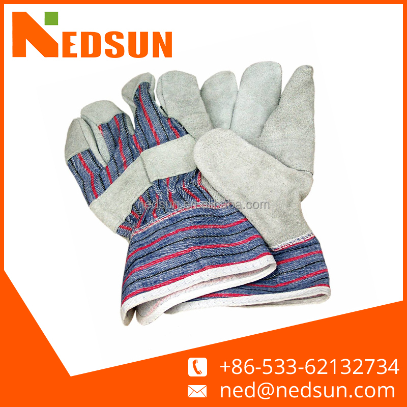 Regular quality cow split construction leather glove for working