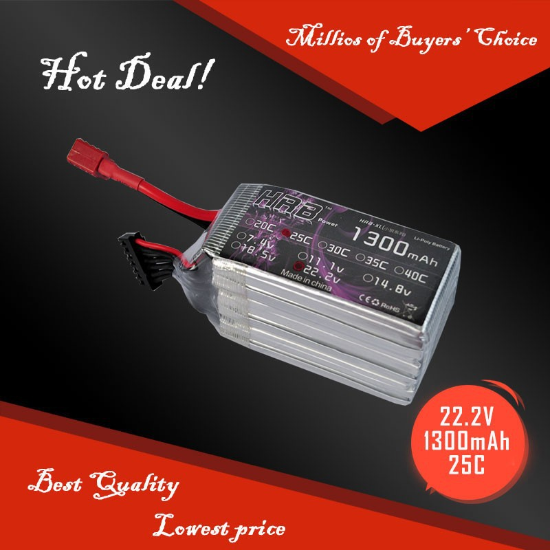 RC helicopter battery 25C 6S 1300mah 22.2v lipo battery for RC heli
