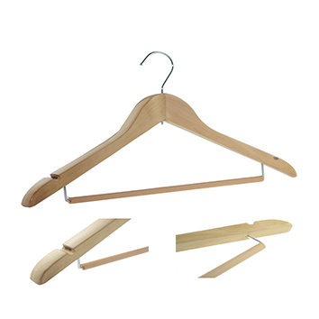 Nature Thick Wooden Coat Suit Hanger With Locking Bar and nocks