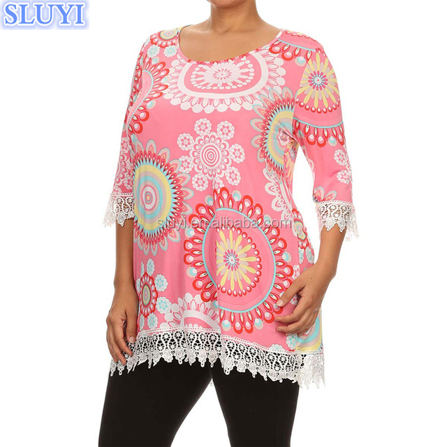 high quality wholesale ladies fashion floral print blouse 3/4 sleeve pink tapestry lace tunics plus size blouses for fat women