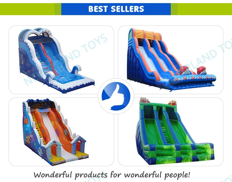Funny blue giant inflatable water slide, water slide for kids and adults