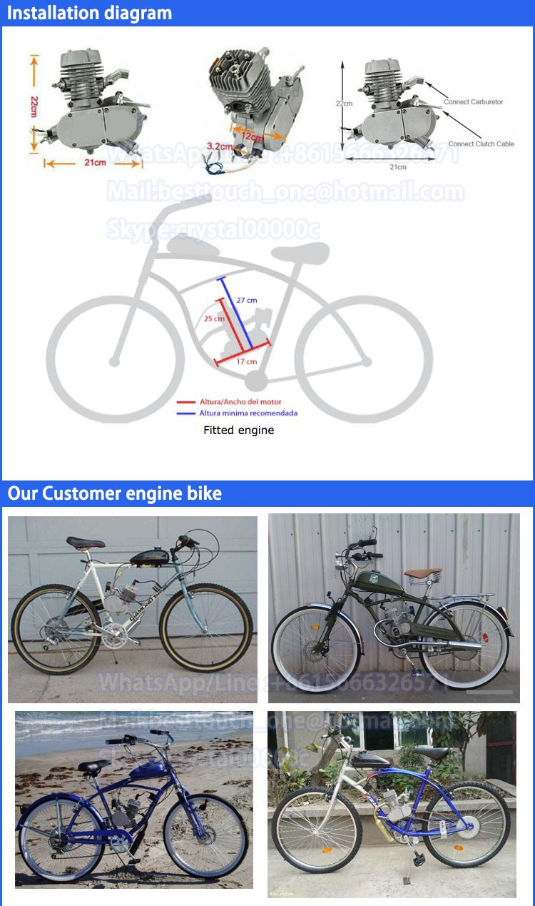 Wholesale gas motor 48cc 49cc 50cc 60cc 2 stroke 80cc gasoline bicycle engine kit for bicycle