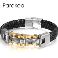 Parokoa brand high quality stainless steel custom braided men leather bracelets