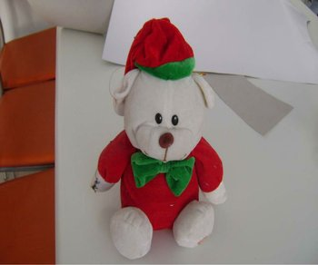 25cm cheap&promotional soft stuffed plush christmas teddy bear with bowknot