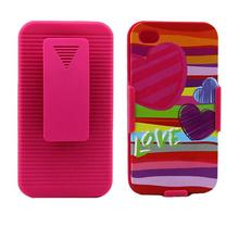 pink love pc hard case flip for iphone 4 belt clip holster