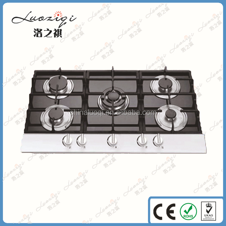 With safe device gas stove, 5 burners gas stove glass top