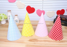 Birthday PINK White Polka Dot Spot Style Party Paper Card Cone Hats