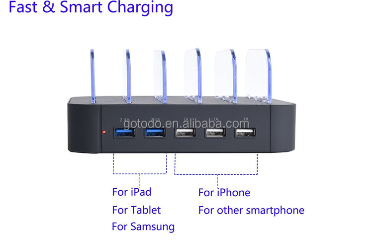With EU/UK/US/AU/JP charging cable multi device charging station with 3/5 ports