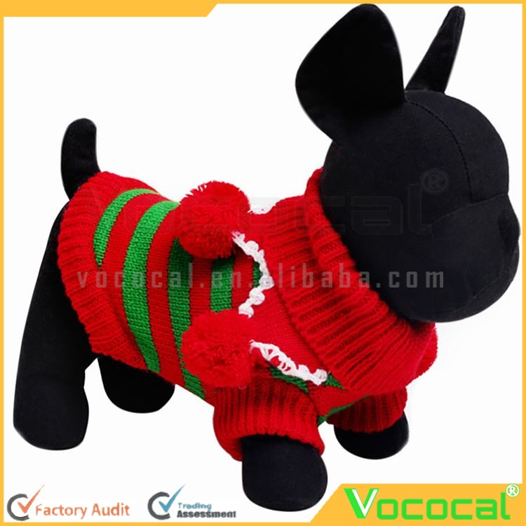 Woolen Dog Puppy Pet Sweater Coat Clothes Red Green Stripe Christmas Winter