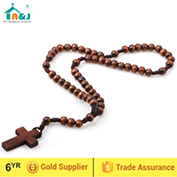Catholic wooden beads wrist rosary bracelet