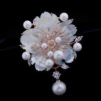 Luxury Fashion Shell Pearl U flower Brooch Pin Jewelry Women wedding classic zircon pearl shell brooch