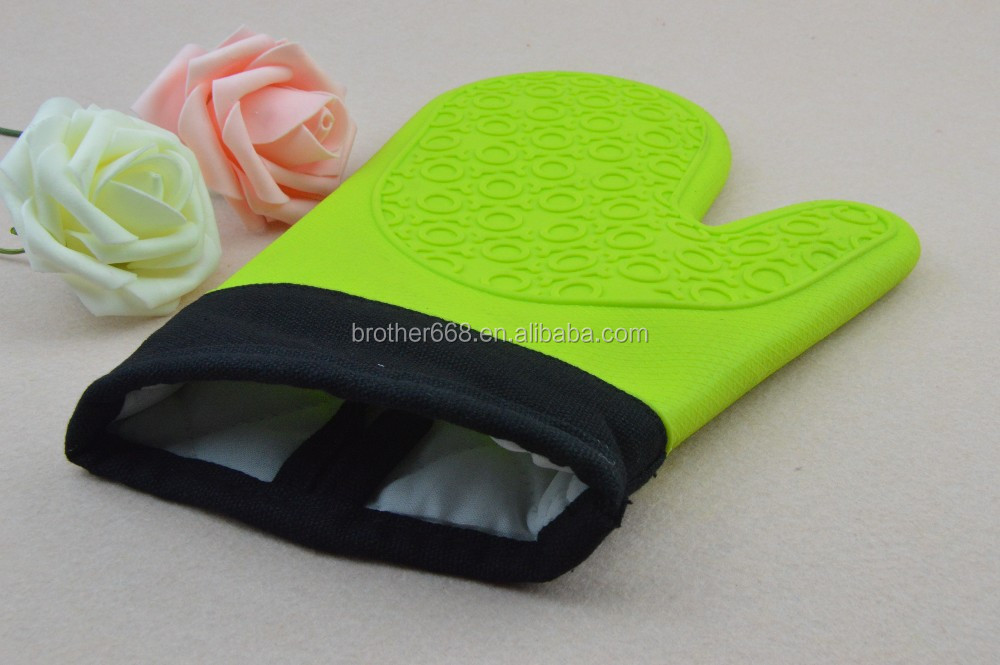 Brand new winter using OVEN MITT/GLOVE green Silicone with cotton quilted Baking Cooking Hot Pad