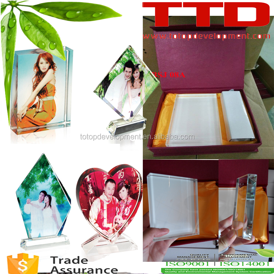 sublimation blank crystal , Wedding Decoration Sublimation Glass Photo Frame