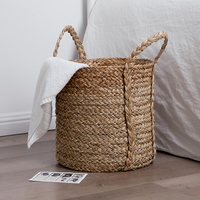Home deco natural eco friendly round gift flower hamper big laundry storage handmade woven sea grass straw baskets with handles