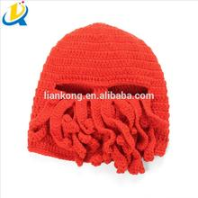 Wholesale good quality handmade knitted wool octopus ski mask hat