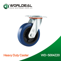 Popular sale blue rubber caster heavy duty caster wheels WD-B5004