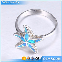 2016 New Best Selling starfish animal shaped rings,opal star rings