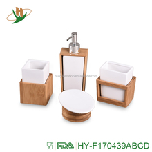 Cheap 4pcs bamboo bathroom accessories sets with ceramic insert