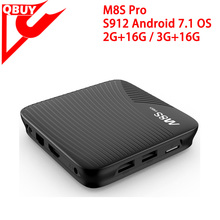 New model tv box Android 7.0 2GB DDR3 16GB ROM Amlogic S912 M8S PRO Octa Core Android tv box m8s pro