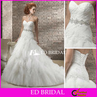 2013 Trumpet Mermaid Sweetheart Layered Wedding Gowns Tulle Bridal Dresses with Crystal Beaded Belt Sash