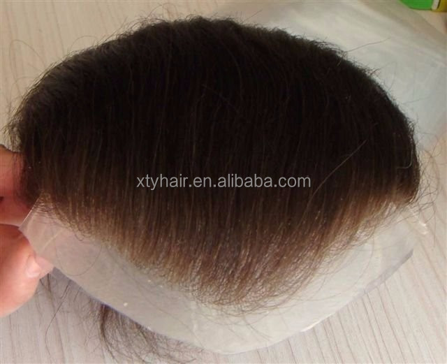 Alibaba China Super Thin Skin PU base hair system with bleached knots
