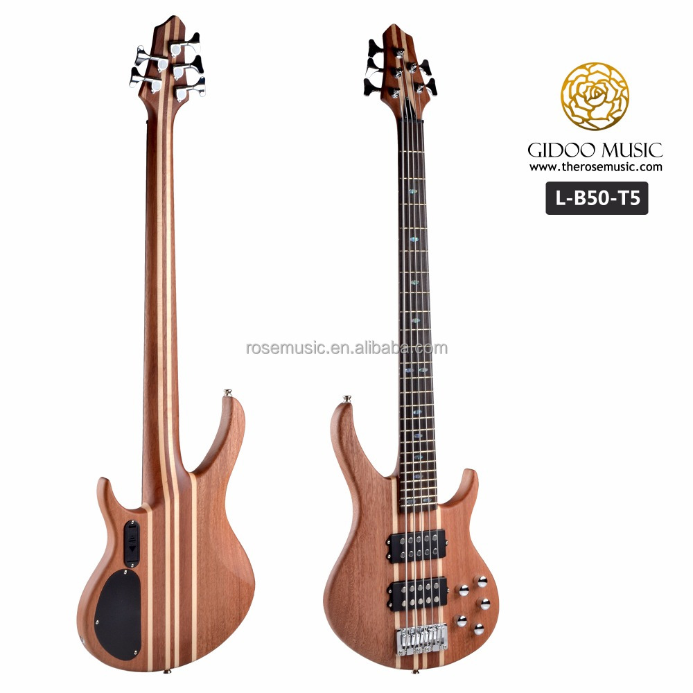 Hot selling 5 string bass guitar with high quality double pickup for sale LB50T5