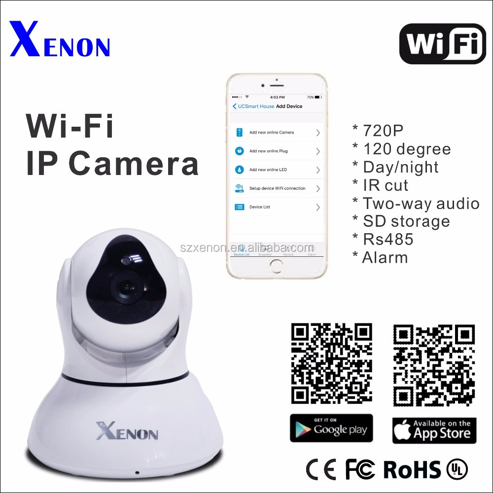 Xenon IP camera Factory OEM/ODM High resolution audio wifi Cloud P2P smart home ip camera