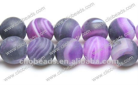Natural frosted purple striped gemstones