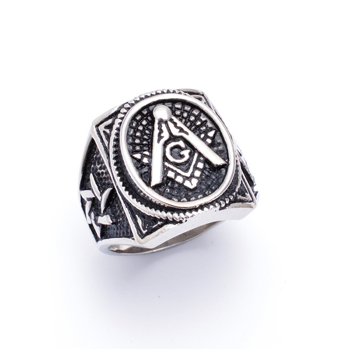 Mens Silver 316L stainless steel freemasons jewelry vintage masonic ring