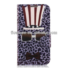 FL2831 2013 Guangzhou hot selling leopard print glasses flip leather case for samsung galaxy s4 i9500