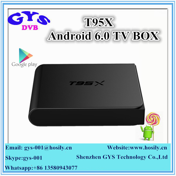 High quality 2.4G wifi 2G 16G Wireless Internet TV Box Amlogic S905X Android 6.0 T95X with Kodi fully loaded