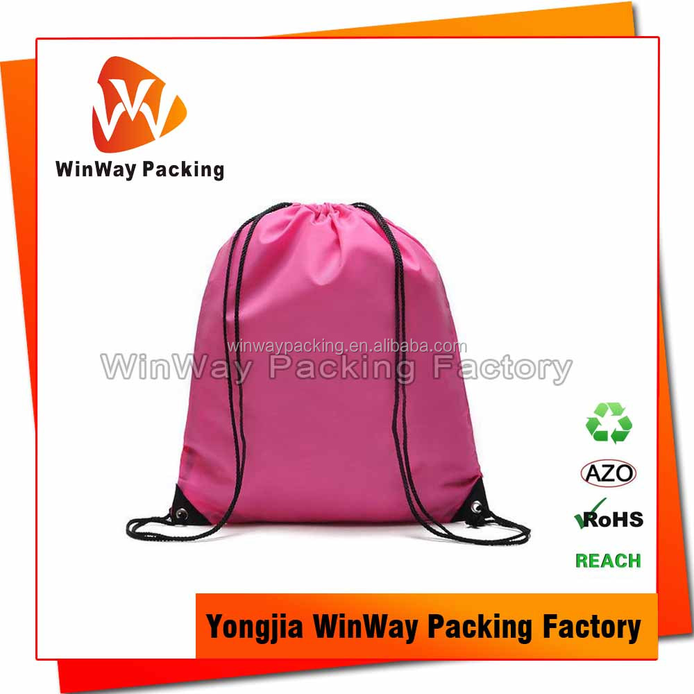 Pink Color Polyester Promotional Drawstring Bags for Gift