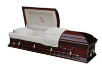 Poplar wood cherry color gloss praying hand panel casket and coffin