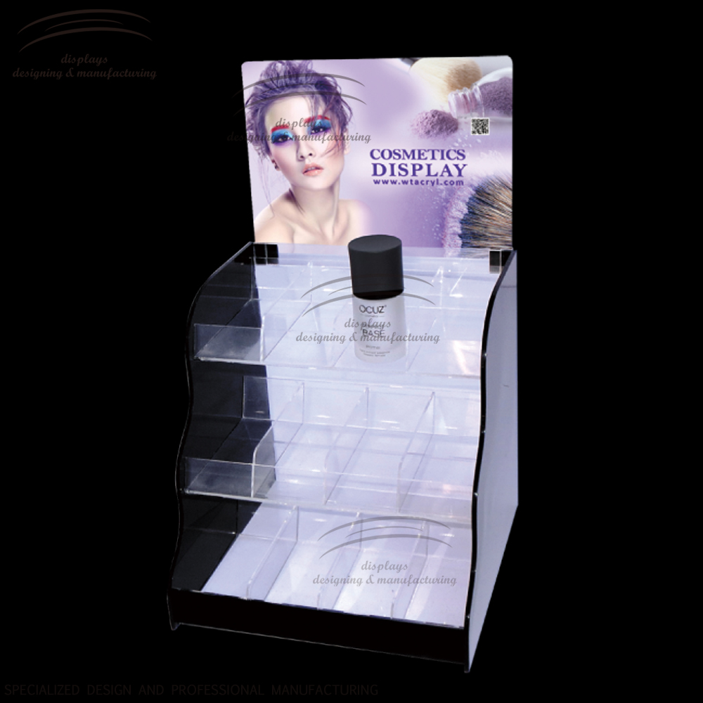 Weitu perfume stand display manufacturer skin care products display acrylic liquid makeup body lotion acrylic skin care display