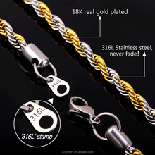 316L Stainless Steel Bracelet Necklace Set Singapore Rope Chains Trendy 5MM Thick Gold Plated Men Jewelry Set