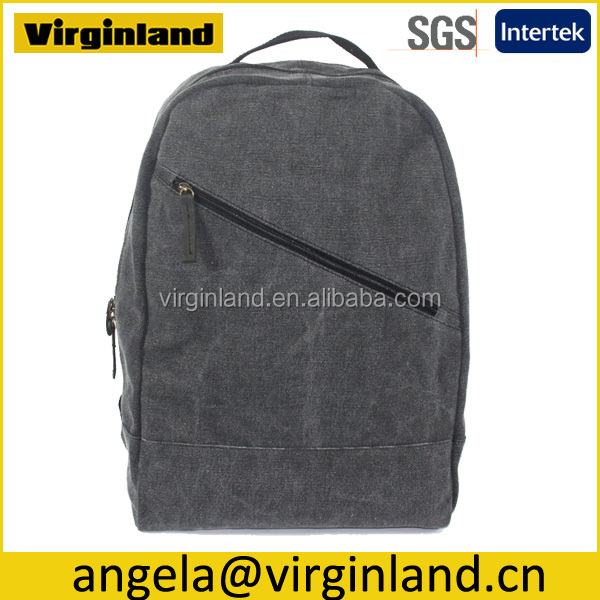 2015 Unisex Fashion Leisure School Custom Grey Heavy Duty Canvas Backpack for Weekend Travelling