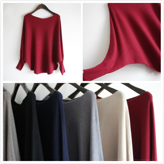 Fashion bat sleeve womens wool sweater knitted jumper